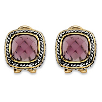 Cushion-Cut Simulated Purple Amethyst Two-Tone Rope Halo Button Earrings ONLY $8.99