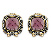 Cushion-Cut Simulated Purple Amethyst Two-Tone Rope Halo Button Earrings Antiqued Silvertone and 14k Yellow Gold-Plated
