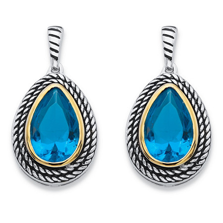 Pear-Cut Simulated Sky Blue Topaz Two-Tone Rope Halo Drop Earrings Antiqued Silvertone and 14k Yellow Gold-Plated at PalmBeach Jewelry
