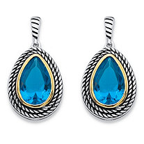 SETA JEWELRY Pear-Cut Simulated Sky Blue Topaz Two-Tone Rope Halo Drop Earrings Antiqued Silvertone and 14k Yellow Gold-Plated