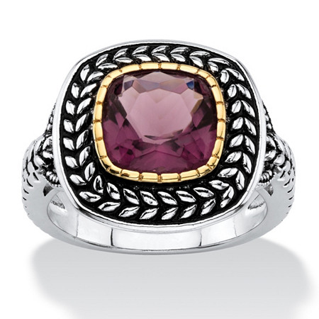 Cushion-Cut Simulated Purple Amethyst Two-Tone Laurel Leaf Halo Cocktail Ring Antiqued Silvertone and 14k Yellow Gold-Plated at PalmBeach Jewelry