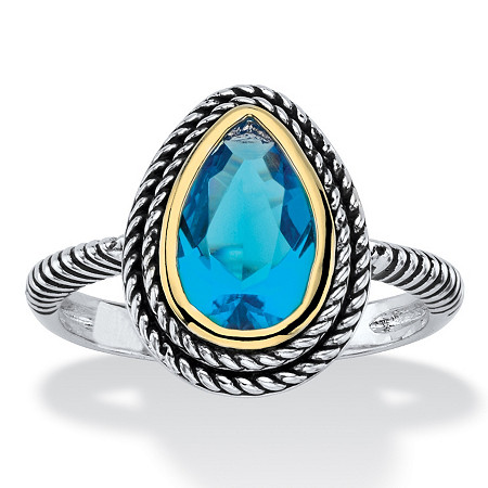 Pear-Cut Simulated Sky Blue Topaz Two-Tone Double Rope Halo Cocktail Ring Antiqued Silvertone and 14k Yellow Gold-Plated at PalmBeach Jewelry