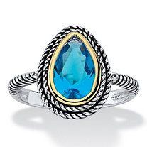 Pear-Cut Simulated Sky Blue Topaz Two-Tone Double Rope Halo Cocktail Ring Antiqued Silvertone and 14k Yellow Gold-Plated