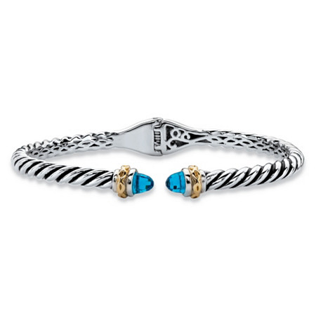 "Round Simulated Sky Blue Topaz Two-Tone Twisted Cable Hinged Bangle Bracelet Silvertone and 14k Yellow Gold-Plated 7"" at PalmBeach Jewelry"