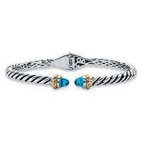Round Simulated Sky Blue Topaz Two-Tone Twisted Cable Hinged Bangle Bracelet ONLY $32.93