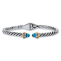 Round Simulated Sky Blue Topaz Two-Tone Twisted Cable Hinged Bangle Bracelet Silvertone and 14k Yellow Gold-Plated 7