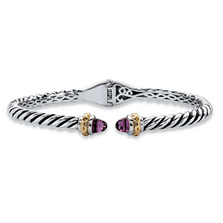 Round Simulated Purple Amethyst Antiqued Two-Tone Twisted Cable Hinged Bangle Bracelet Silvertone and 14k Yellow Gold-Plated 7