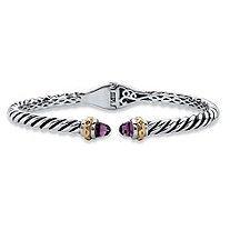 Round Simulated Purple Amethyst Antiqued Two-Tone Twisted Cable Hinged Bangle Bracelet Silvertone and 14k Yellow Gold-Plated 7""