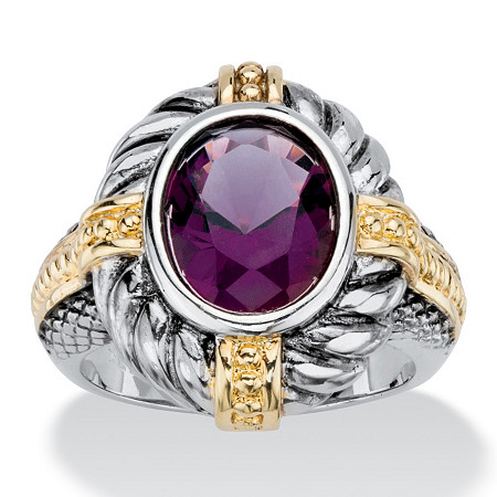 Oval-Cut Simulated Purple Amethyst Two-Tone Twisted Cable Cocktail Ring Antiqued Silvertone and 14k Yellow Gold-Plated at PalmBeach Jewelry