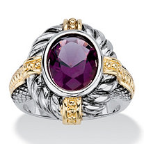 Oval-Cut Simulated Purple Amethyst Two-Tone Twisted Cable Cocktail Ring Antiqued Silvertone and 14k Yellow Gold-Plated