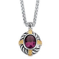 Oval-Cut Simulated Purple Amethyst Two-Tone Twisted Cable Pendant Necklace Antiqued Silvertone and 14k Yellow Gold-Plated 18""