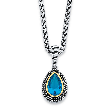 Pear-Cut Simulated Sky Blue Topaz Two-Tone Antiqued Silvertone and 14k Yellow Gold-Plated Double Rope Halo Pendant Necklace 18
