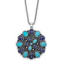 Oval-Cut Simulated Turquoise and Sapphire Antiqued Silvertone Pendant Necklace 18""