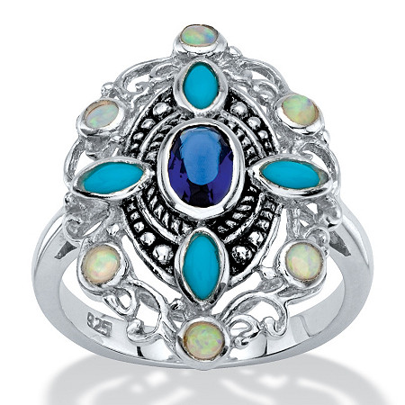 Oval-Cut Simulated Blue Sapphire, Turquoise and Opal Scrolled Cocktail Ring in Antiqued Sterling Silver at PalmBeach Jewelry