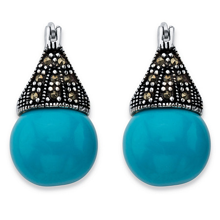 Round Simulated Turquoise and Black Marcasite Teardrop Earrings in Antiqued Sterling Silver at PalmBeach Jewelry