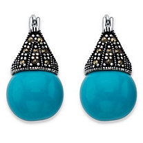 Round Simulated Turquoise and Black Marcasite Teardrop Earrings in Antiqued Sterling Silver