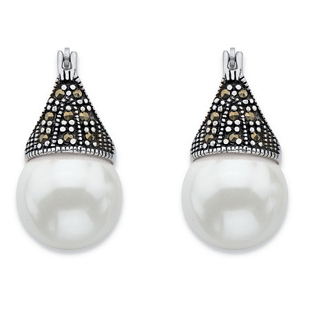 Round Simulated Pearl and Black Marcasite Teardrop Earrings in Antiqued Sterling Silver at PalmBeach Jewelry