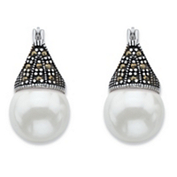 Round Simulated Pearl And Black Marcasite Teardrop Earrings In Antiqued Sterling Silver ONLY $19.99