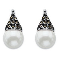 Round Simulated Pearl and Black Marcasite Teardrop Earrings in Antiqued Sterling Silver
