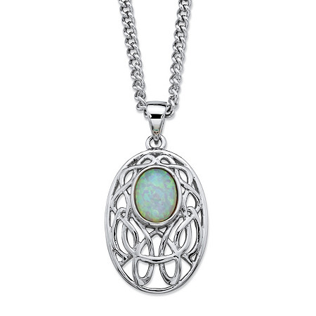 Oval-Cut Aurora Borealis Simulated Opal Celtic-Inspired Scroll Curb-Link Pendant Necklace in Silvertone 18