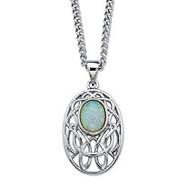 Oval-Cut Aurora Borealis Simulated Opal Celtic-Inspired Scroll Curb-Link Pendant Necklace in Silvertone 18""