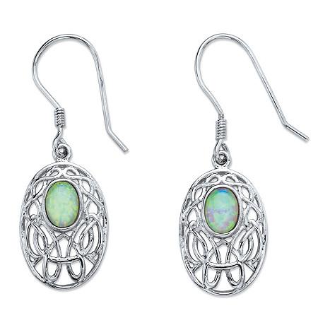 Oval-Cut Aurora Borealis Simulated Opal Celtic-Inspired Scroll Drop Earrings in Silvertone 1.5
