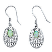 Oval-Cut Aurora Borealis Simulated Opal Celtic-Inspired Scroll Drop Earrings in Silvertone 1.5""