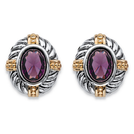 Oval-Cut Simulated Purple Amethyst Two-Tone Antiqued Silvertone and 14k Yellow Gold-Plated Rope and Bead Halo Stud Earrings at PalmBeach Jewelry