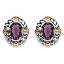 Oval-Cut Simulated Purple Amethyst Two-Tone Antiqued Silvertone and 14k Yellow Gold-Plated Rope and Bead Halo Stud Earrings