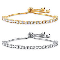 Round Cubic Zirconia 2-Piece Set Adjustable Drawstring Slider Bracelet 6 TCW in Gold Tone and Silvertone 10""
