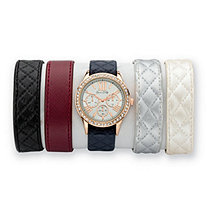 Crystal Multi-Dial 5-Piece Interchangeable Fashion Watch Set Genuine Leather Bands in Rose Gold Tone Adjustable 8""
