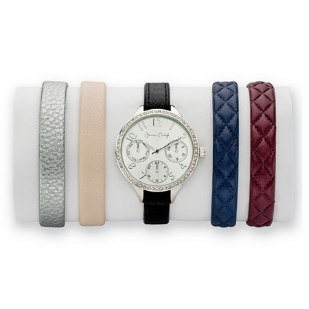 Crystal 5-Piece Interchangeable Fashion Watch Set with Silver Dial and Genuine Leather Bands Adjustable in Silvertone 8