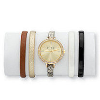 Crystal 5-Piece Interchangeable Fashion Watch Set with Champagne Dial and Genuine Leather Bands in Gold Tone Adjustable 8""