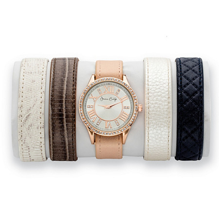 "Crystal 5-Piece Interchangeable Fashion Watch Set with Silver Dial and Genuine Leather Bands in Rose Gold Tone Adjustable 8"" at PalmBeach Jewelry"