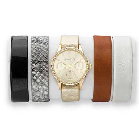 Crystal Gold Tone 5-Piece Interchangeable Fashion Watch Set with Champagne Dial and Genuine Leather Bands Adjustable 8