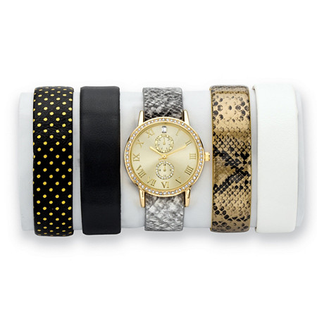"Crystal Gold Tone 5-Piece Interchangeable Fashion Watch Set with Gold Dial and Genuine Leather Bands Adjustable 8"" at PalmBeach Jewelry"