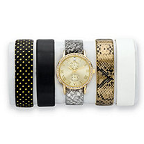 Crystal Gold Tone 5-Piece Interchangeable Fashion Watch Set with Gold Dial and Genuine Leather Bands Adjustable 8""