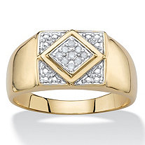 SETA JEWELRY Men's White Diamond Accent Two-Tone Pave-Style Classic Grid Ring 14k Yellow Gold-Plated