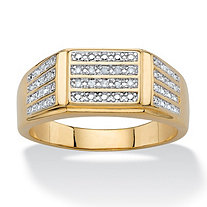 Men's White Diamond Accent Multi-Row Grid Ring 14k Yellow Gold-Plated