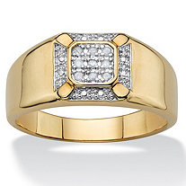 Men's White Diamond Accent Two-Tone Pave-Style Halo Grid Ring 14k Yellow Gold-Plated
