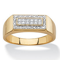 Men's White Diamond Accent Rectangle Two-Tone Halo Grid Ring 14k Yellow Gold-Plated