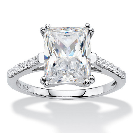 3.93 TCW Emerald-Cut White Cubic Zirconia Bridal Engagement Anniversary Ring in Platinum over Sterling Silver at PalmBeach Jewelry