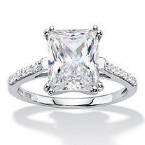 3.93 TCW Emerald-Cut White Cubic Zirconia Bridal Engagement Anniversary Ring in Platinum over Sterling Silver