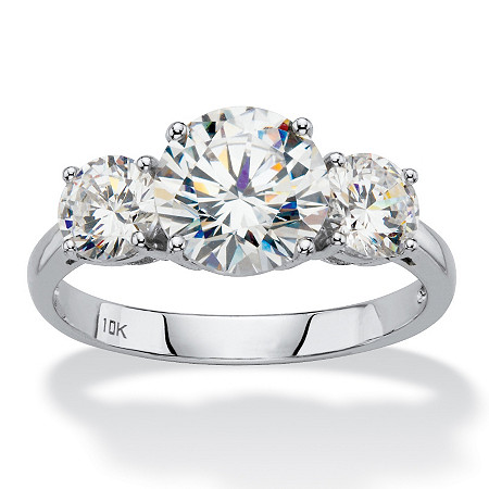 3 TCW Round White Cubic Zirconia 3-Stone Bridal Engagement Anniversary Ring in Solid 10k White Gold at PalmBeach Jewelry