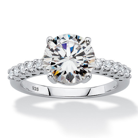 3.25 TCW Round White Cubic Zirconia  Bridal Engagement Ring in Platinum over Sterling Silver at PalmBeach Jewelry