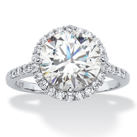 4.45 TCW Round White Cubic Zirconia Halo Bridal Engagement Ring in Platinum over Sterling Silver at PalmBeach Jewelry