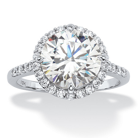 4.45 TCW Round White Cubic Zirconia Halo Bridal Engagement Ring in 10k White Gold at PalmBeach Jewelry