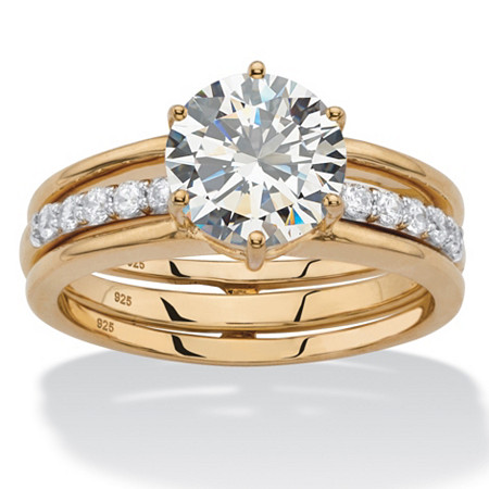 2.28 TCW Round Cubic Zirconia 2-Piece Jacket Bridal Wedding Set in 18k Gold over Sterling Silver at PalmBeach Jewelry