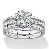 2.28 TCW Round White Cubic Zirconia 2-Piece Jacket Bridal Engagement Set in Platinum over Sterling Silver