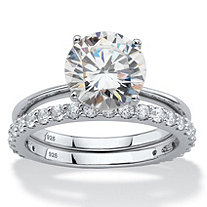 3.50 TCW Round White Cubic Zirconia 2-Piece Bridal Engagement Ring Set in Platinum over Sterling Silver